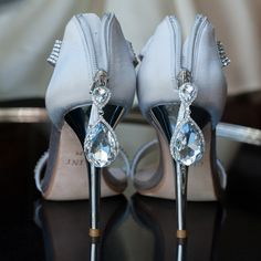 Glamorous Silver Wedding Pumps // Nikki Closser Photography // http://www.theknot.com/weddings/album/a-pretty-in-pink-wedding-in-seattle-wa-140410