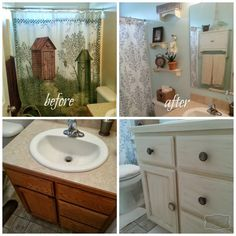 Look at Audrey's guest bathroom makeover using the Anne Sloan Chalk Paint and Wax.  SOOOO much better!