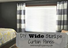 Embracing Life's Journey: DIY Wide Stripe Curtain Panels: Love the black accent wall too!