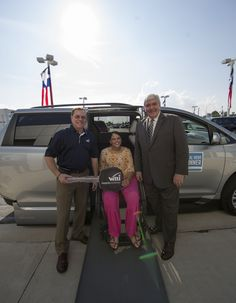 Dave Hubbard with #NMEDA and Jay Clary from #VMI were overjoyed to award Courtney with the second Local Heroes #wheelchair accessible vehicle.