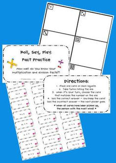 "Here's a ""Roll, Say, Play"" game for practicing multiplication and division facts."
