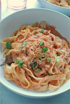 Creamy Tomato And Crab Fettuccine by Bev Cooks