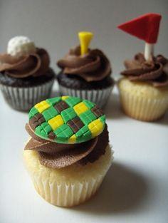 vanilla cupcakes, themed cupcakes, golfthem cupcak