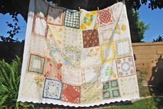 "Vintage handkerchiefs up-cycled and re-purposed.  I have made a zillion ""quilts"" from these old hankies, I just sew them onto an old white sheet, makes a nice cool summer cover for your bed -"