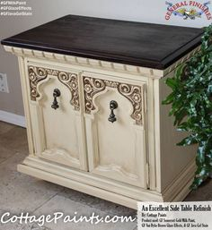 Cottage Paints, https://www.facebook.com/pages/Cottage-Paints/288926494563789?fref=ts, gave this side table a beautiful makeover with General Finishes Somerset Gold Milk Paint, Van Dyke Brown Glaze Effects and Java Gel Stain. We'd love to see your projects made with General Finishes products! Tag us with #GeneralFinishes or share with us through our facebook page. #gfmilkpaint #gfjavagelstain #gfglazeeffects