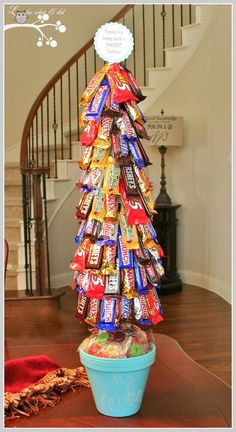 DIY Candy Bar Tree- Fabulous gift idea for b-days, holidays, graduation or just about any occasion! Add some dollar bills in there too if you are wanting to gift money!