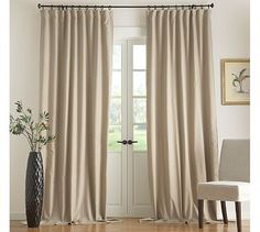 Flax Linen Drape with Blackout Liner #potterybarn