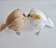 Light brown and white wedding cake topper birds   #wedding #cake #topper #birds #yellow #brown