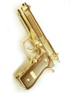 gold plated beretta 92, 9mm pistol