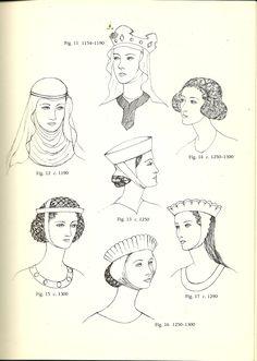 histori, costum, hairstyles, middle ages, accessori