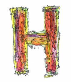 Whimsical letter H funky