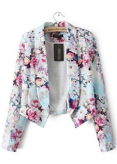 Fine Quality Long Sleeve Turndown Collar Floral Suit