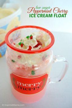 Low Sugar Peppermint Cherry Ice Cream Float - B-InspiredMama.com #Sponsored #MySweetFreedom #kidsrecipe #lowsugar #kbn #binspiredmama