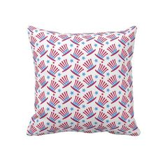 Red, White  Blue July 4th Hats Pattern Pillow