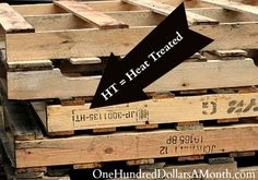 "Good to know: pallets marked ""HT"" mean ""heat treated"" for insect infestation. ""MB"" means fumigated with methyl bromide, a toxic pesticide. ""HT"" is safer, but may still have been contaminated by chemicals during shipping."
