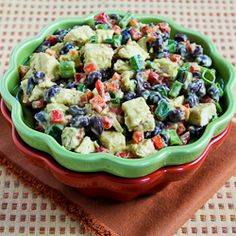 Recipe for Chicken, Black Bean, and Red Pepper Salad with Spicy Avocado Dressing from Kalyn's Kitchen