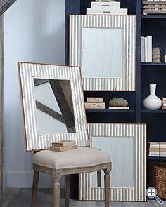 stripe mirror, decor mirror, wood mirror, decorative mirrors, offic idea