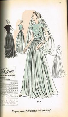 Vogue Couturier Design 310 Evening Dress featured in Vogue Patterns, April 1947
