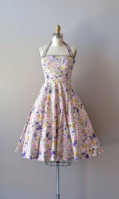 vintage 1950s dress / cotton 50s sundress / Mayenne Gardens dress