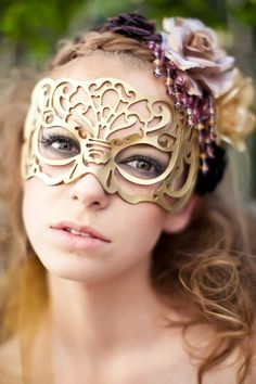Victoriana mask in gold leather. $39.00, via Etsy.