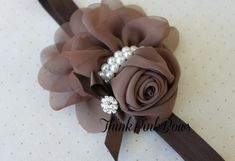 Brown Floral Headband with Pearl Accents