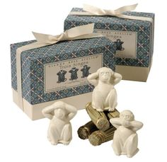 Just in and already a must have with so many -  THREE Wise Monkeys  Hear No Evil, See No Evil, Speak No Evil. Inspired by the 17th century legend, our re-creation of the 3 Wise Monkeys affords a thoughtful gift for young or old. The triple milled, carved-soap monkeys are creamy taupe and scented with White Lychees fragrance.    shipping worldwide - www.TheShoppingBagStore.com