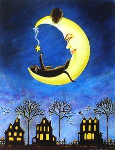 cat art, kitten, cat moon, black cats, art prints, star, sweet dreams, halloween, sleep tight
