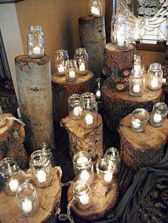 diy ideas, tree stumps, wedding ideas, wedding lighting, candle holders, rustic weddings, mason jar candles, romantic weddings, mason jars