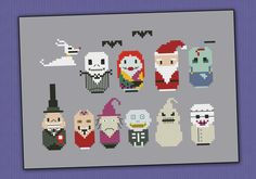 The Nightmare Before Christmas chibi - PDF  cross stitch pattern via Etsy