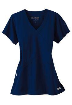 Greys Anatomy 3 pocket crisscross wrap scrub top.