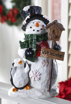 Snowman & Penguin Holiday Welcome Garden Statue