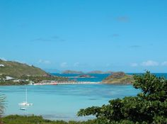 Petit Cul-de-Sac in St Barth, with the view of St Maarten and Anguilla in the distance
