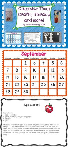 A mix of calendar craft and literacy. Each month comes with a calendar page, reading comprehension, writing activity, art and a craft. This is a file you will use year round!