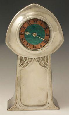 pewter clock, liberti, enamel clock, time, clock enamel, tick tock, nouveau clock, art nouveau, antiqu clock