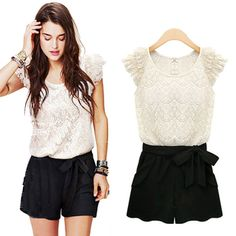 Free shipping 2013 lace ruffle sleeve jumpsuits overall,women shorts,women jumpsuits S,M,L XL, plus size romper jumpsuit-inJumpsuits & Rompers from Apparel & Accessories on Aliexpress.com $14.20