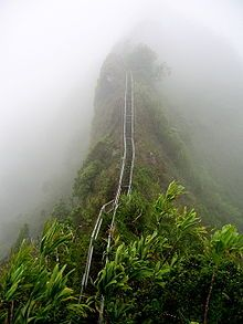 Haiku Stairs...steep hiking trail on the island of O'ahu