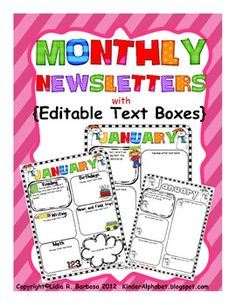 Fun Editable Monthly newsletters in English. Spanish and PDF versions are also available.