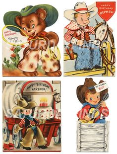 Happy Birthday Cowboy No. 2 (of 2) Vintage Greeting Cards - Digital Collage Sheets E-mailed directly to you.. $3.25, via Etsy.