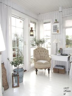 Living Room White Grey Shabby Chic French Rustic Swedish Cottage Home