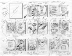 Jennifer ThermesA page of thumbnails for 32 page picture book, Bear and Bird. I spend a lot of time making teeny tiny thumbnails and working out the flow of the book as a whole.