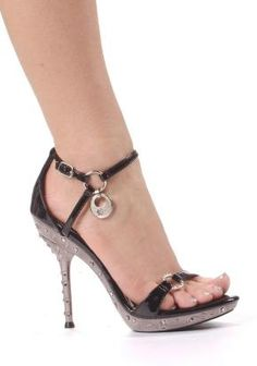 Women's 5 Inch Heel Sandal With Ring Strap And Rhinestone Detail