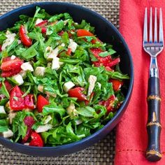 Baby Arugula Chopped Salad with Chicken, Fresh Mozzarella, and Tomatoes