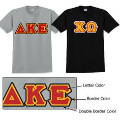 Greek Double Border Twill Letter T-Shirt $22.95 #Custom #Greek #Shirt #Sorority #Clothing #Fraternity #Apparel tshirt 2295, letter tshirt, greek shirt, chi omega, omega soror, soror cloth, greek merchandis, fratern cloth, custom greek