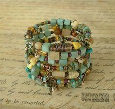 Boho Bracelet, Junk Gypsy, Turquoise Jewelry, Layered Bracelet, Bohemian Jewelry, Urban Chic
