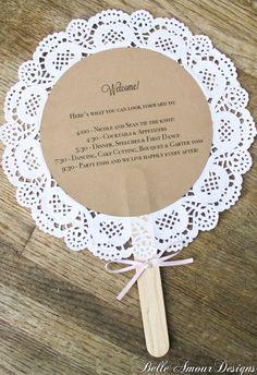 Doily Wedding Program Fans Additional by BelleAmourDesigns