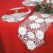 White Poinsettia Table Runner & Place Mats