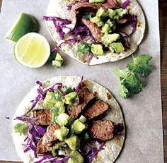 Steak Tacos with Cucumber Avocado Salsa