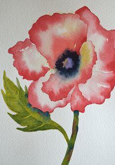 Art Fine ArtRed PoppySmall Original Watercolor by yankeegirlart, $50.00
