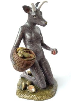 Goat woman-ceramic figurative sculpture by Carrianne Hendrickson.