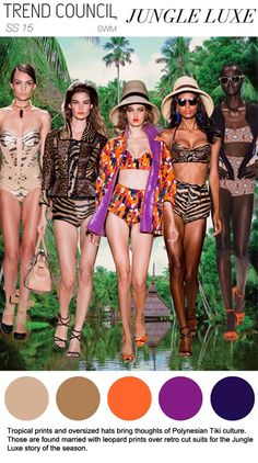 swimwear 2015, summer 2015, swimwear trend, jungl lux, ss 2015, ss15 trend, color inspir, trend council, 2015 trend